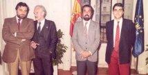 Julio Anguita con los Alcaldes de Móstoles y Valladolid y el Secretario General de la FEMP, en la sede de la calle Covarrubias