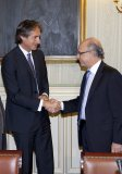 El Ministro Montoro y el Presidente de la FEMP, Iñigo de la Serna, durante la pasada Comisión Nacional de Administración Local (CNAL)